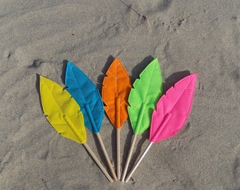 Set of Five Felt Quill FLORA Pencil Toppers, Vegan