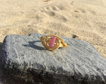 Size Q Rubellite Gemstone wire wrapped ring