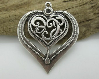 Large Silver Pewter Heart Pendant with Swirl Design Open Work, 50x40mm (1)