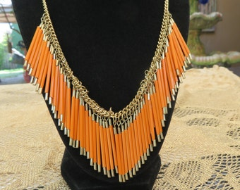 Gorgeous Vintage Long Orange Bead On Gold Chain Necklace