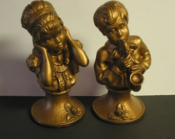 Vintage J. Kendrick Gold Book End Statues by Universal Statuary Corp 1971