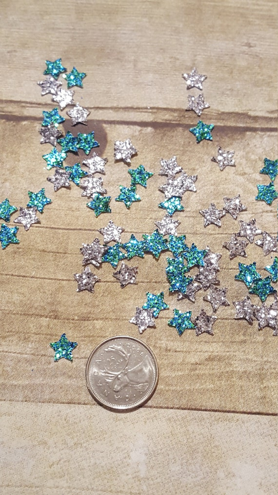 Basket Weaving Supplies Toronto : Sparkly silver and teal star die cut birthday confetti