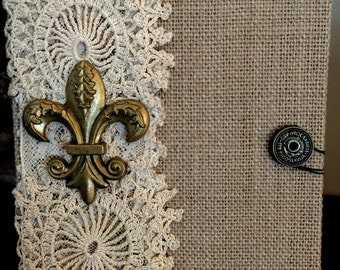 Beautiful Handmade Writing Journal Unlined Fleur De Lis and Vintage Lace  Notebook