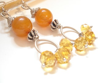 Amber Silver Wire Wrapped Earrings Modern Dangle Beaded Sterling  Silver Earrings Orange Amber and Crystals Earrings