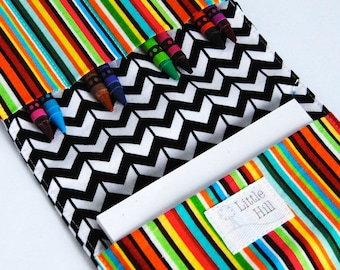 Crayon Wallet, 8 Crayons and Notepad Included, Art Party Favors, Kids Birthday Favors, Wedding Favors, Kids Organizer, Chevron and Stripes