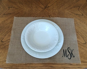 Burlap Placemats for Table Home Decor Personalized Monogrammed