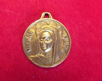 Vintage Brass French Virgin Mary Medal. Religious pendant.