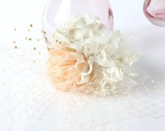 Ivory & Peach Birdcage Veil - bridal accessory / handmade fabric flowers / vintage bride