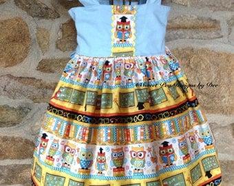 Back to School girls dress, girls owl dress, ABC dress, fall dress, little girls dress, flutter sleeves, girls blue dress, baby dress