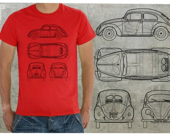 VW Beetle plan with your own license plate - man T-shirt - S-2XL