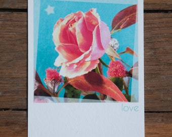 """Map-Valentine """"love and pink"""", with envelope format polaroid on paper fine art"""