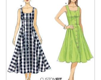 Vogue Pattern V9182 Misses' Button-Down Flared-Skirt Dresses