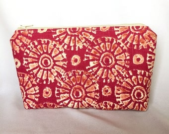 Zipper Pouch Cosmetic Bag - Pink and Yellow