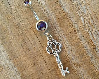 Key Fob Belly Button Ring, Navel Ring, Keyfob Belly Button Jewelry, Body Jewelry, 14g Barbell, Belly Piercing.