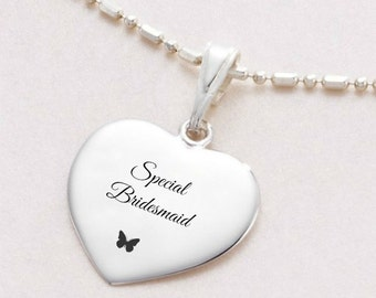 Sterling Silver Necklace with Engraving for Bridesmaid or Flower Girl. Thank You Gift.