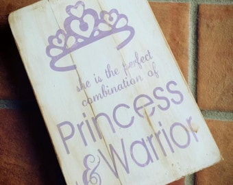 Princess and Warrior nursery sign