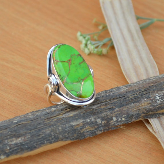 Green Copper Turquoise Gemstone, 925 Sterling Silver, Oval Cabochon Green Gemstone Ring, Designer Ring, Mother's Gift Jewelry Size 7