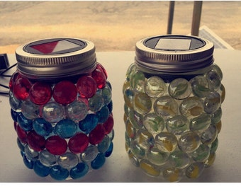 Mason Jar Solar Lights - multi colored