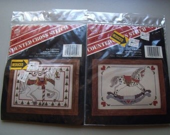 Two Counted Cross Stich Kits Banar Designs Rocking Horse and Carousel Horse NEW
