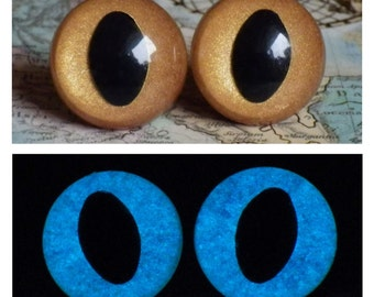 18mm Glow In The Dark Cat Eyes, Metallic Golden Brown Safety Eyes With Blue Glow, 1 Pair Of Glow In The Dark Safety Eyes