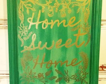 Home Sweet Home Green and Gold Hand Painted Wall Decor Picture 23in. x 19in. x1.5in.