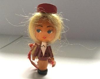 Vintage Wooden Stewardess Woman Flight Attendant Blonde Handcrafted #1