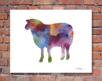Sheep Art Print - Abstract Watercolor Painting - Wall Decor