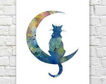Blue Moon Cat Art Print - Abstract Watercolor Painting - Wall Decor