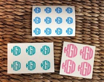 """Circle Monogram Decal - Monogram Decal Sheet - Vinyl Decal - Custom Decal - small monogram decal - Phone Decal - .45"""" .75"""" 1"""" Circle Decal"""