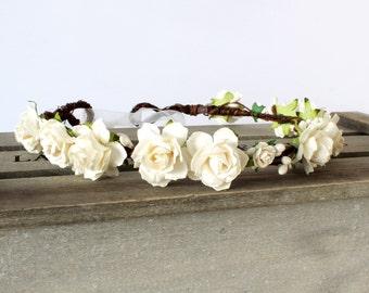 Ivory Floral Crown, Flower Crown, Rustic Garland, Woodland Wedding, Boho Wedding, Bridal Floral Crown Headband, Flower Girl Flower Crown