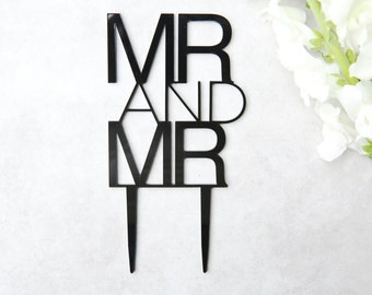 Mr and Mr Topper Various Colours Available | Contemporary Gay Wedding Cake Topper