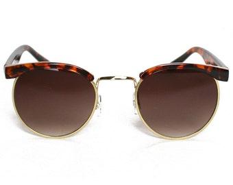 Vintage Clubmaster Style Wayfarer Tortoise Shell Frame Rim Sunglasses, Sunnies Eyewear Retro Risky Business Lens 1980s Sunglasses