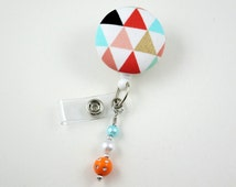 Triangle Fun - Retractable ID Badge Holder-Name Badge Holder-Nurses Badge-Badge Clip-Badge Reels-Pediatric-RN-Nursing Badge Holder