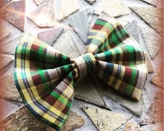 Plaid / Flannel / Madris Yellow Green Brown Blue and Tan Fall Hair Bow Set of 2