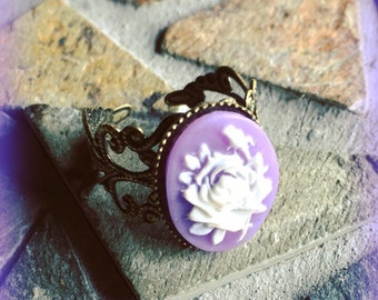 Victorian Antique Bronze White Rose and Purple Cameo Adjustable Ring