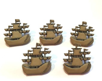 Pirate Ship Buttons Galore A Pirates Life Brown Color Choice Set of 5 Shank Back Brown - 206