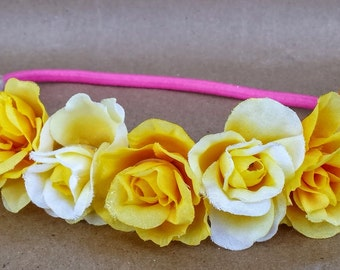 Sunshine Yellow Children's Elastic Flower Crown; Rose Hippie Crown for Kids; Hippie Flower Headbands; Flower Princess Headband