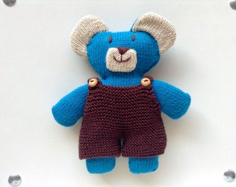 Doudou blue Pooh and his Brown overalls