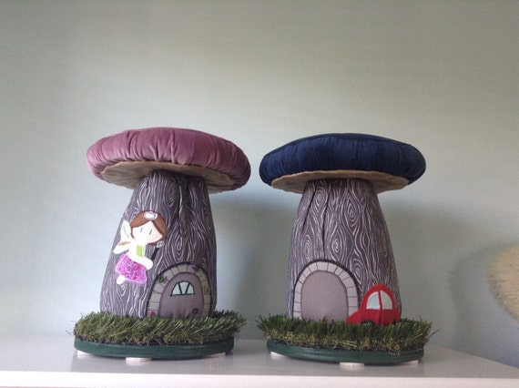Mushroom Stools CUSTOM Applique Fairydoor Boy or Girl, Fairy House Chair, Fairy Chair, Fairy House Mushroom Stool