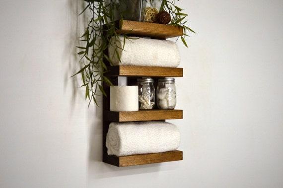 Rangement salle de bain serviette rack 4 par rusticmoderndecor - Rangement serviette de bain ...