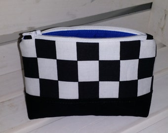 Checkered Black and White Makeup  Zippered Pouch