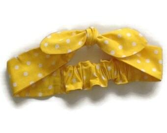 YELLOW BOW HEADBAND, baby headband yellow polka dot, mummy and baby headband sets, headbands babies, red polka dot headband