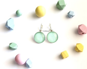 Pastel poetic cabochon earrings