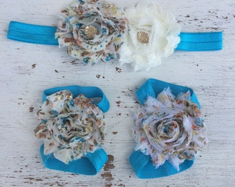Baby headband and Barefoot sandals; baby barefoot sandals; blue floral sandal; toddler barefoot sandal; sandal