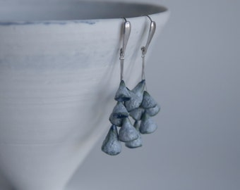 White/ blue/ textured blue matte dangling bell porcelain and sterling silver earrings wedding gift