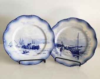 2 Large French Vintage Blue and White China Decorative Wall Plates
