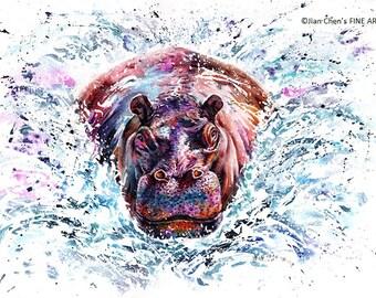 hippo - mounted original painitng