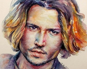 Johnny Depp - mounted original painting