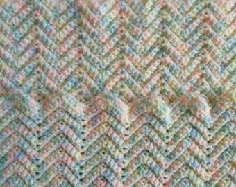 Vintage Handmade Baby Blanket. Beautiful Pastel Multicolored Crocheted Afghan. Chevron Pattern.