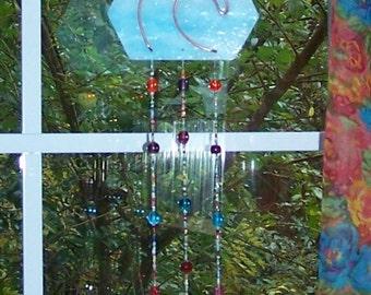Handmade Handcrafted Stained Glass Windchime Suncatcher